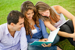 Friends studying outdoors Royalty Free Stock Photography