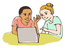 Friends studying together. Students are working with computer / Vector illustration Royalty Free Illustration