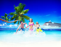 Friends Summer Beach Happiness Beach Ball Playing Concept Stock Images