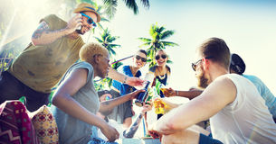 Friends Summer Beach Party Cheers Concept Stock Images