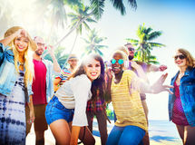 Friends Summer Beach Party Dancing Concept Stock Photography