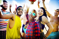 Friends Summer Beach Party Festival Concept Stock Images