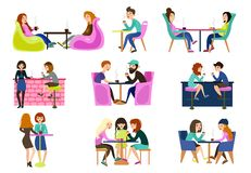 Friends in a summer cafe are sitting at tables chatting are eating tea and coffee. vector illustration