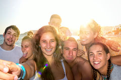 Friends in Summer taking a selfie Royalty Free Stock Images