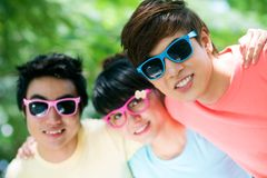 Friends in sunglasses Stock Images