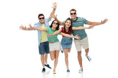 Friends in sunglasses having fun Stock Images
