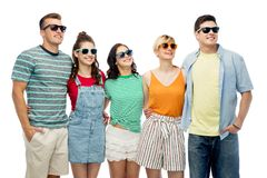 Friends in sunglasses over white background Stock Image