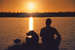 Friends at sunset Stock Photography