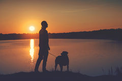 Friends at sunset Royalty Free Stock Image