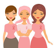 Friends supporting young woman after chemotherapy Stock Images
