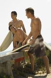 Friends With Surfboards Royalty Free Stock Photography