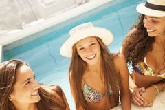 Friends in swimming pool Stock Photography