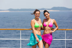 Friends swimwear cruise Royalty Free Stock Photos