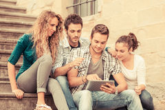 Friends with Tablet PC Stock Image