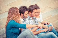 Friends with Tablet PC. Group of Friends with Tablet PC Royalty Free Stock Photo