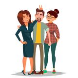 Friends Taking Photo Vector. Laughing People Group, Office Colleagues. Creative Man And Women. Friendship Concept. Isolated Illustration royalty free illustration