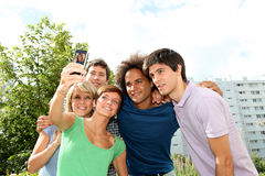 Friends taking picture outside Stock Images
