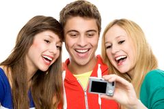 Friends taking picture of themselves Stock Photo