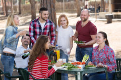 Friends taking pictures together at barbecue Royalty Free Stock Image