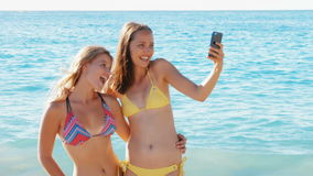 Friends taking selfie on the beach stock video footage