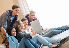 Friends taking selfie in home interior Stock Images