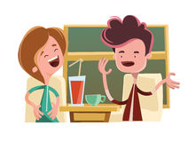 Friends talking in a bar  illustration cartoon character Royalty Free Stock Images