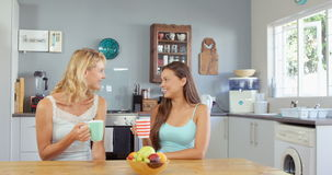 Friends talking and having coffee. In kitchen stock footage