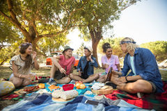 Friends talking while having food during picnic Stock Photo