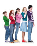 Friends talking by phone Stock Image