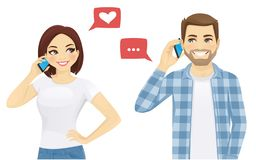 Friends talking on phone. Young man and woman talking on phone vector illustration vector illustration