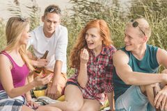 Friends talking during picnic stock photo