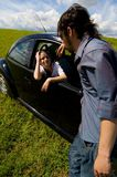 Friends Talking On A Road Trip royalty free stock images