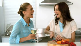 Friends talking together while one is preparing the dinner. And the other is drinking white wines in slow motion stock video footage