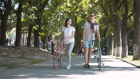 Friends talking while walking. Two close friends having lovely talk while walking with bikes in city park between green tall trees, concept of active lifestyle stock video footage