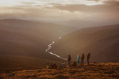 Friends team group travel mountains concept royalty free stock images