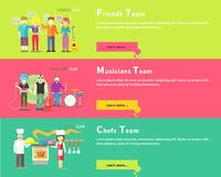 Friends Team. Musicians Group. Chefs People Royalty Free Stock Photo