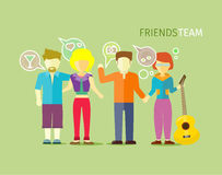 Friends Team People Group Flat Style. Friendship and group of friends, best friends, communication community social person, relationship together, teamwork Royalty Free Stock Photo