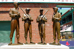 Friends and Teammates. Bronze statue dedicated to four Boston Red Sox legends, (l-r) Ted Williams, Bobby Doerr, Johnny Pesky, and Dominic DiMaggio outside the Royalty Free Stock Photos