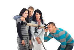 Friends with telescope stock photography