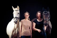 Friends With Their Horses royalty free stock images