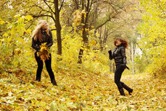 Friends throw leaves Stock Images