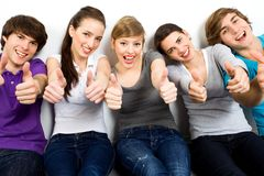 Friends with thumbs up Stock Image
