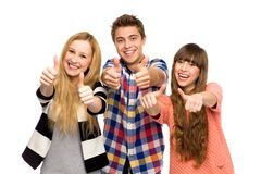 Friends with thumbs up Royalty Free Stock Photos