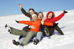 Free Friends To Drive In A Sledge Royalty Free Stock Photo - 4174045