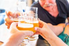 Friends Toast with Glasses of Micro Brew Beer At Bar. Friends Toast Glasses of Micro Brew Beer At a Bar royalty free stock photos
