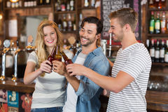 Friends toasting beer bottles at pub. Happy friends toasting beer bottles at pub Royalty Free Stock Photography