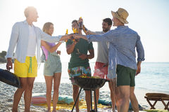 Friends toasting while standing by barbecue at beach Royalty Free Stock Photos
