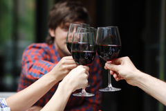 Friends toasting with wine stock images