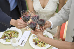 Friends Toasting Wine At Dinning Table. Cropped image of diverse friends toasting wine at dinning table Stock Image