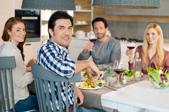 Friends together at lunch Royalty Free Stock Photo